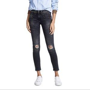 R13 Boy Skinny Jeans Aiden Black Distressed {I14}